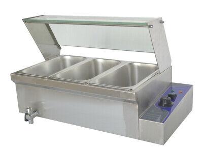 3 Pan Food Warmer 1500w Bain-marie Buffet Table Kitchen Machine Countertop Steam