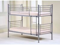 ROBUST FRAME - SPACE SAVING - WHITE OR SILVER - METAL BUNK BED BED FRAME - 3FT SINGLE- OPT MATTRESS