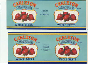 2 ORIGINAL 1950'S LINCOLN CANNING ST. CATHARINES ONTARIO LABELS
