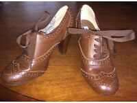 Brown Leather Heeled Brogue Ankle Boots UK Size 5.5