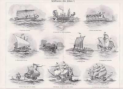 Schiffstypen Segelschiff Kogge Galeere TAFEL von 1905 Wikingerboot Drachenboot