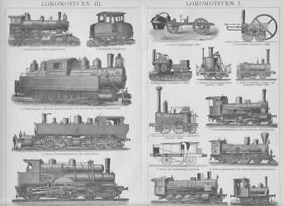 LOKOMOTIVEN Dampflok Eisenbahn Tenderlokomotive HOLZSTICHE um 1900