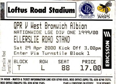 Ticket - Queens Park Rangers v West Bromwich Albion 29.04.00