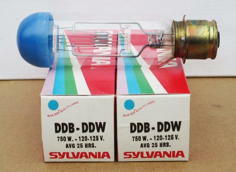 Two Sylvania DDB-DDW 750 Watt Projector Bulbs - New Old Stock