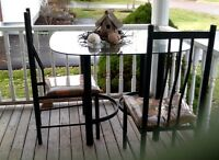 GLASS TOP TABLE WITH 2 high back chairs