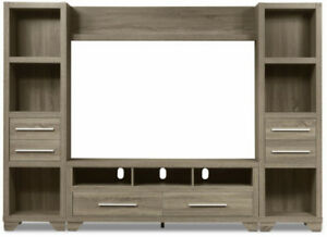 """4-Piece Entertainment Centre with 65"""" TV Opening – Grey"""
