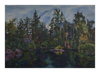 Original Framed Oil Painting: Lake of the Woods