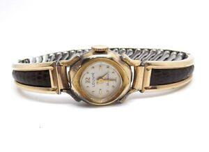 Rare-Vintage-Swiss-Winding-Ladies-Louvic-10k-RGP-Gold-Toned-Leather-Watch-25J