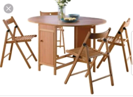 Brand new solid wood folding dining table and chairs
