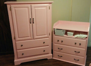 Matching wardrobe and dresser/change table