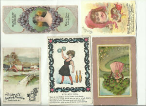5 - Victorian Age Trade Cards - Advertising-  Gilt Edge - Gloss