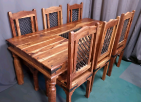 Gorgeous large solid wood dining table with 6 chairs(delivery avail.)