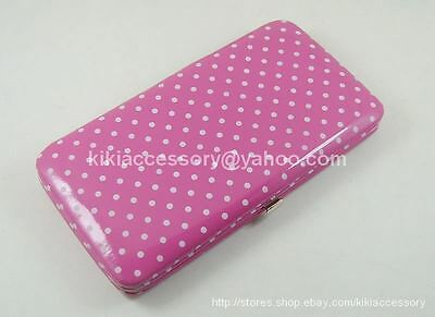 Pink Mini Polka Dots Flat Opera Wallet Clutch Casual Credit Card Wristlet Purse