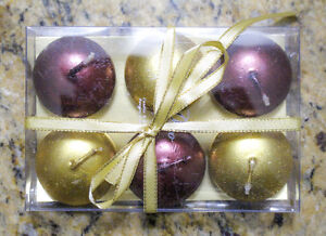 Set of Six Small Christmas Candles: Gold & Burgundy: Brand New