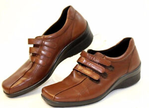 ECCO Womens 37 6.5 Brown Leather Comfort Loafers