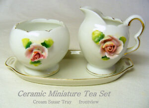 Mini Porcelain Sugar Cream set, rose attached