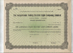 OLD CAPITAL STOCK CERT. GASPEREAUX  VALLEY ELECTRIC
