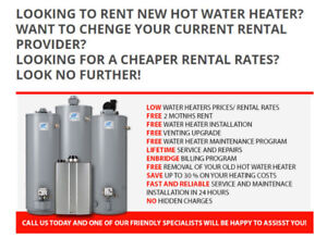 Rent Hot Water Heater.- Free Installation - Same Day Service..