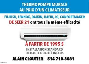 THERMOPOMPE MURALE plusieurs marques disponibles