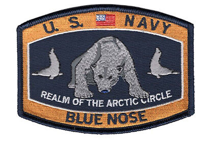 Polar Bear Patch - US Navy Blue Nose Polar Bear Iron On Patch Shellback 4 1/2