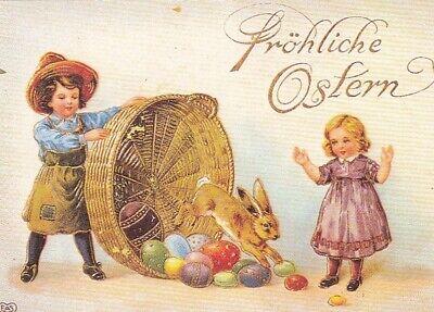 Ostern-Wünsche, Kinder mit Eier-Korb ngl F2336 ()