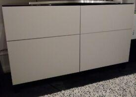 IKEA BESTA storage unit x2 drawers x2 cupboards light grey and black brown wood + glass top