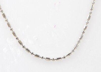 "14K White Gold 1 mm Bead Ball Bar Chain 18"" New"
