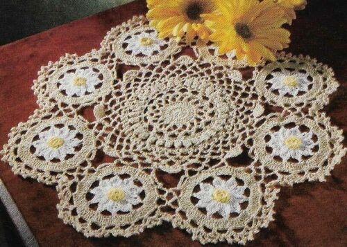 "DAISIES IN BLOOM DOILY 13 1/2"" DIAMETER DIGEST SIZE CROCHET PATTERN INSTRUCTIONS"