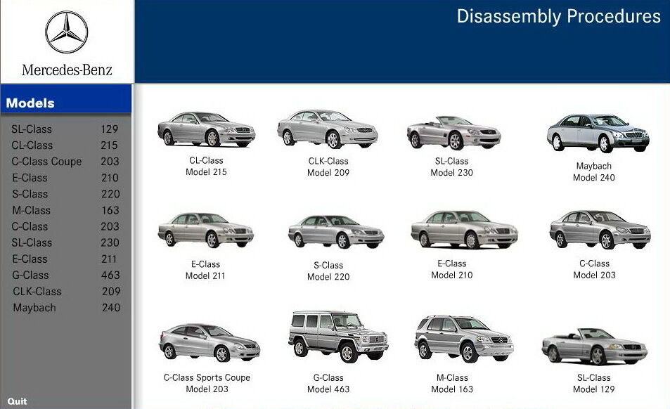 mercedes benz disassembly assistant workshop manual w210 Mercedes W212 Mercedes W203