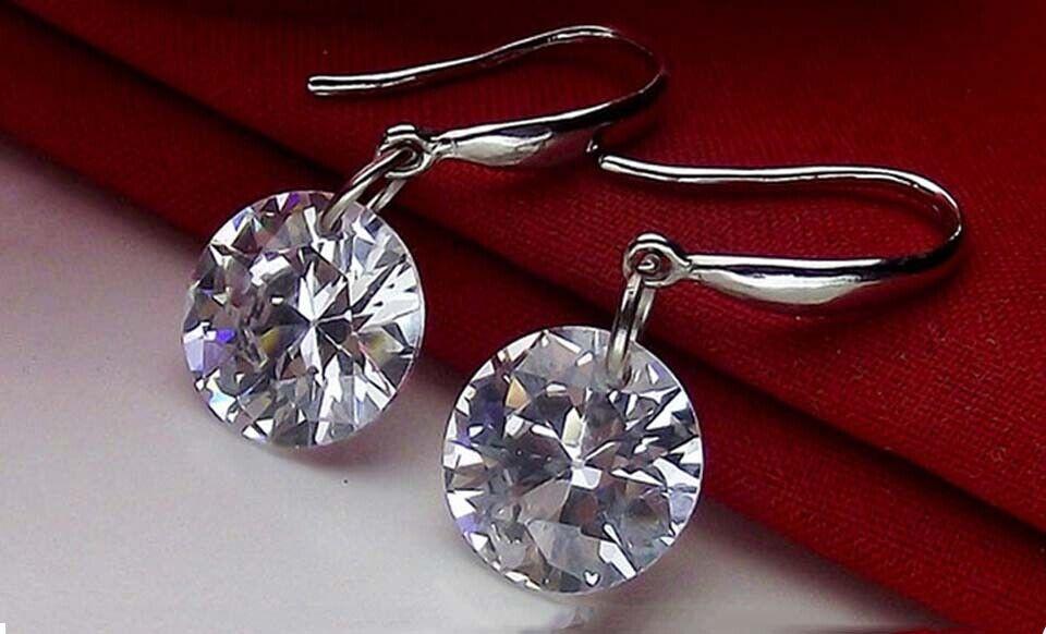 925 Sterling Silver Dangle Hook Clear Crystal Earrings For Women 2