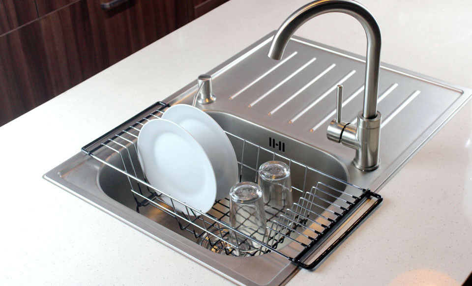 Neat-O Over-The-Sink Kitchen Dish Drainer Rack, Durable Chro