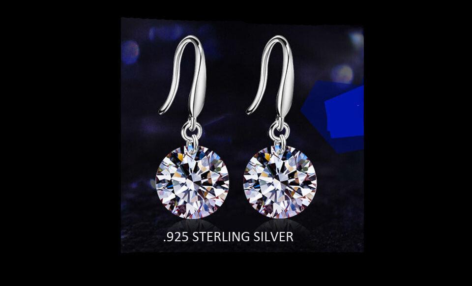 925 Sterling Silver Dangle Hook Clear Crystal Earrings For Women