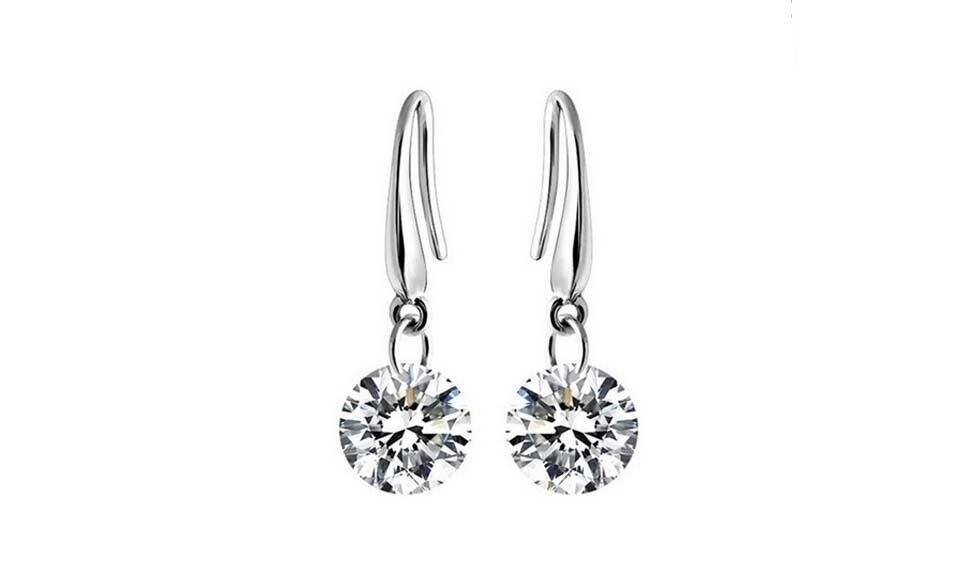 925 Sterling Silver Dangle Hook Clear Crystal Earrings For Women 5
