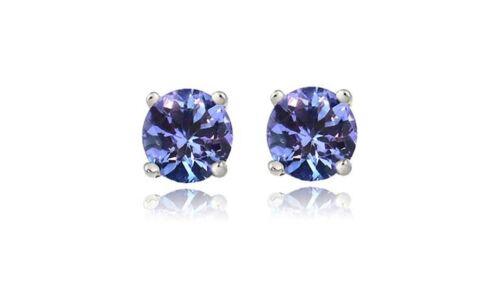 925 Sterling Silver 2.00ct Tanzanite Round 6mm Stud Earrings Women