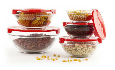 Glass Bowls With Lids - 10 Pcs Glass Lunch Bowls Healthy Food Storage Containers Set With Red Lids