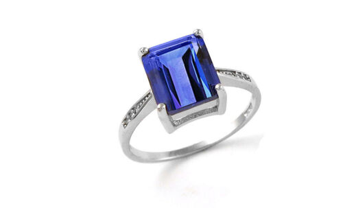 4.00 CTTW Genuine Tanzanite Emerald Cut Sterling Silver Ring Sizes 6 - 9