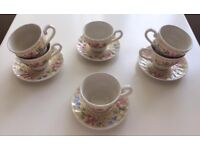 Set of 4 Churchill Teacups & Saucers Floral/ShabbyChic/Vintage Yellow/Pink/Blue Prescot,Widnes,Post