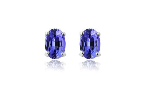 925 Sterling Silver 2.00ct Genuine Tanzanite Oval Stud Earrings Women