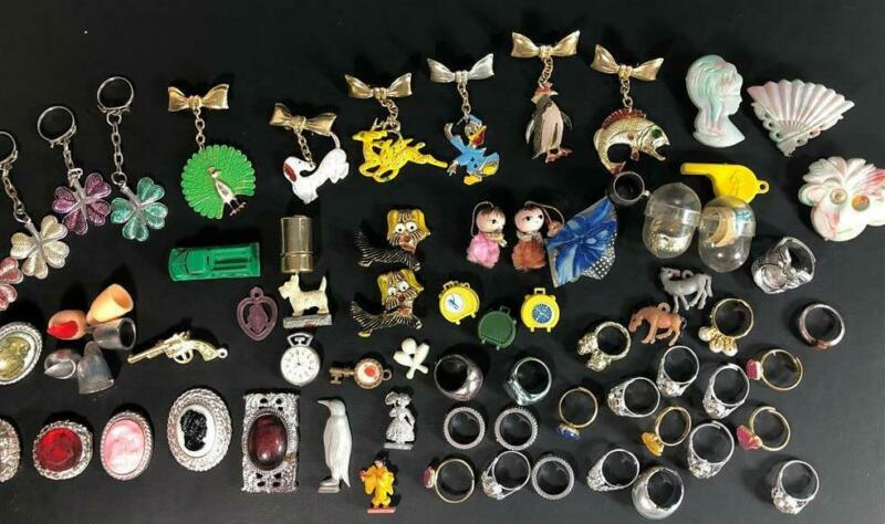 Huge Lot 70+ Old Vintage Charms Toys Machine Prizes Penny King Capsule Cameo