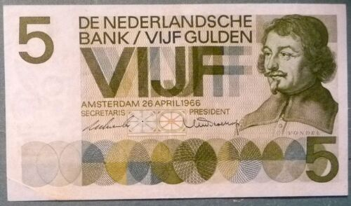 "NETHERLANDS VERY RARE 5 GULDEN NOTE , P 90 b , ISSUED 28.04. 1966, SERIAL ""3XD"""