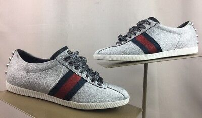 20a12e6ab GUCCI MENS SNEAKERS SILVER CONTRAST PADDED LEATHER HIGH TOP SHOES 10 ...
