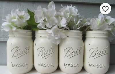 (Boho Mason jar decor distressed Ivory set of 4 wedding decor tablescape industri)