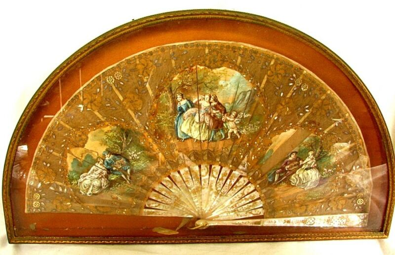 ANTIQUE FRENCH FAN *HAND PAINTED* M.O.P. STICKS *DEMI LUNE FRAME* c.1870