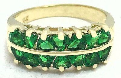 EMERALDS 2.60 carats TRILLION SHAPE RING 14k GOLD *Free shipping service* ()