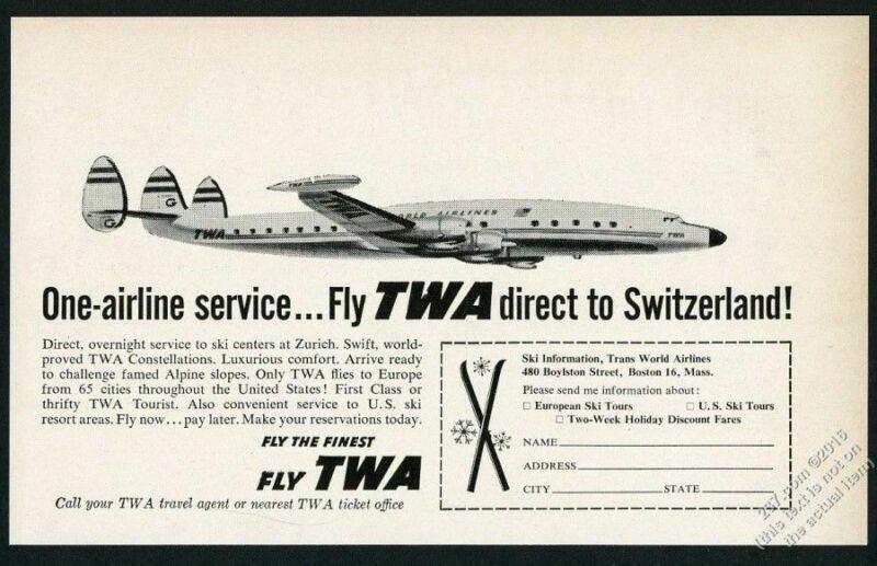1957 TWA airlines Lockheed Constellation plane to Switzerland vintage print ad