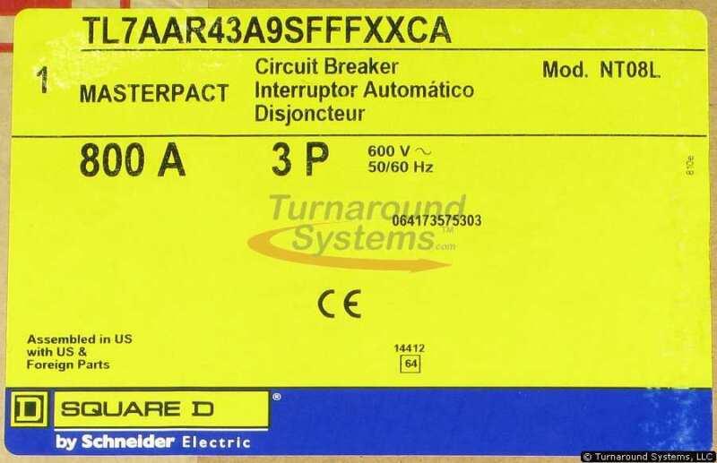Square D Tl7aar43a9sfffxxca Breaker, 800 Amp, 100 Kair, Nt08l, Drawout, New