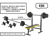 Everlast Folding Workout Bench with 100kg 2 dumbells 2 barbells Brand new boxed WITH EZ BAR £80