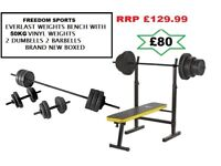 Everlast Folding Bench With 50kg Weights BRAND NEW BOXED RRP £129.99