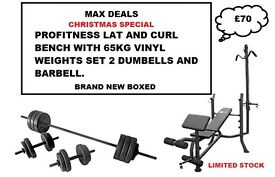 🎄REDUCED PROFITNESS LAT AND CURL BENCH 65KG VINYL WEIGHTS 2 DUMBELLS BARBELL🎄