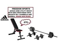 ADIDAS DUMBELL AND AB BENCH WITH 50KG PROFITNESS VINYL WEIGHTS SET (BNB)